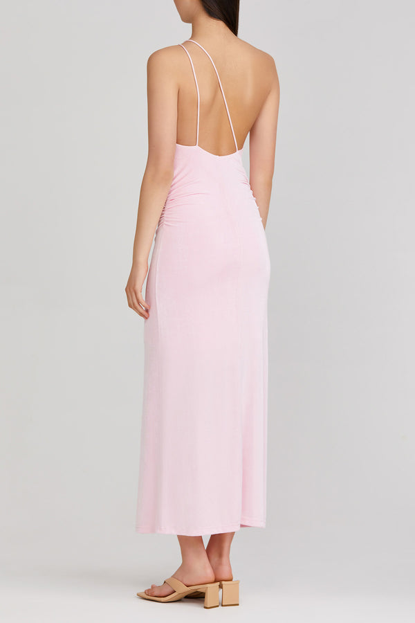 Significant Other pastel pink midi dress with one shoulder neckline and cross back strap