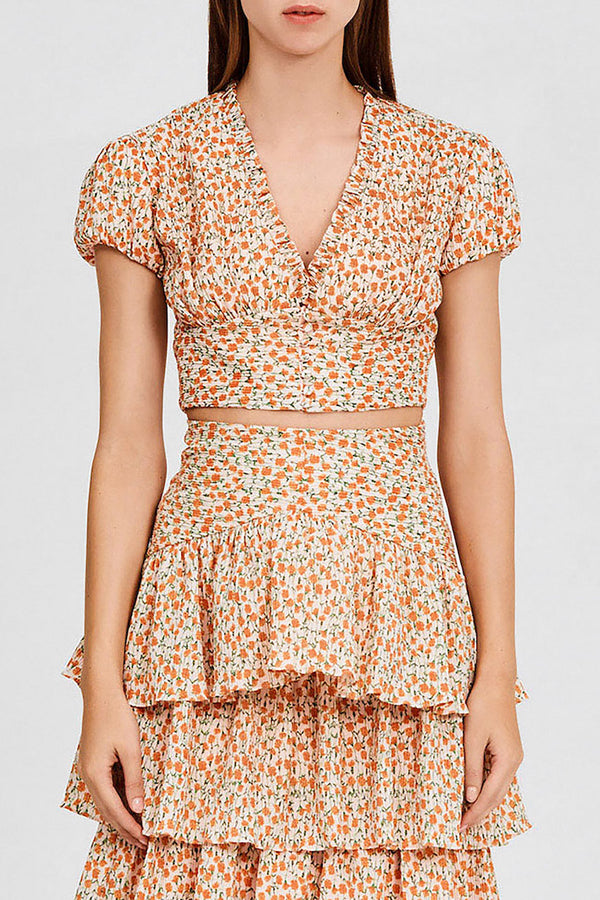 Significant Other Cropped Top with Short Sleeves in Pastel Pink with Orange Floral Pattern