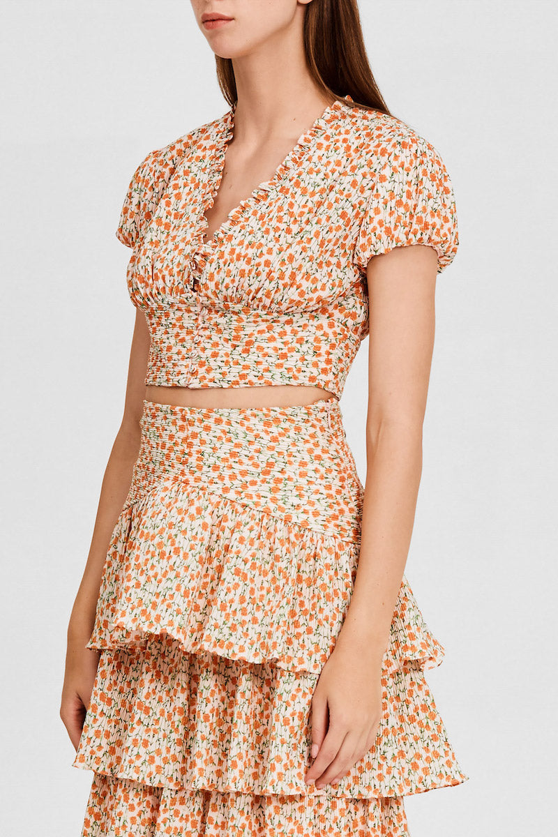 Significant Other Cropped Top with Short Sleeves in Pastel Pink with Orange Floral Pattern - Side View