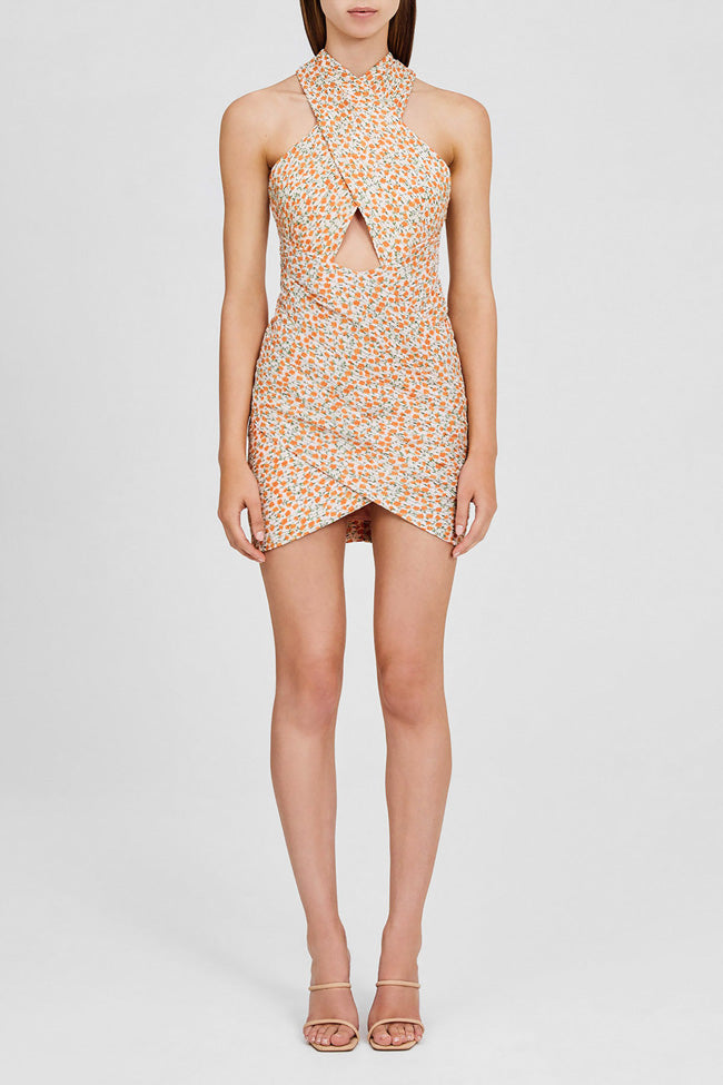 Significant Other Mini Dress with Cross Over Bodice and Cut-out Detail in Pastel Pink with Orange Floral Pattern
