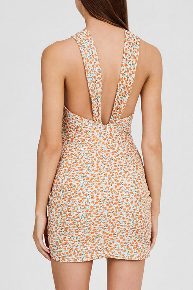 Significant Other Mini Dress with Cross Over Bodice and Cut-out Detail in Pastel Pink with Orange Floral Pattern - Back Detail