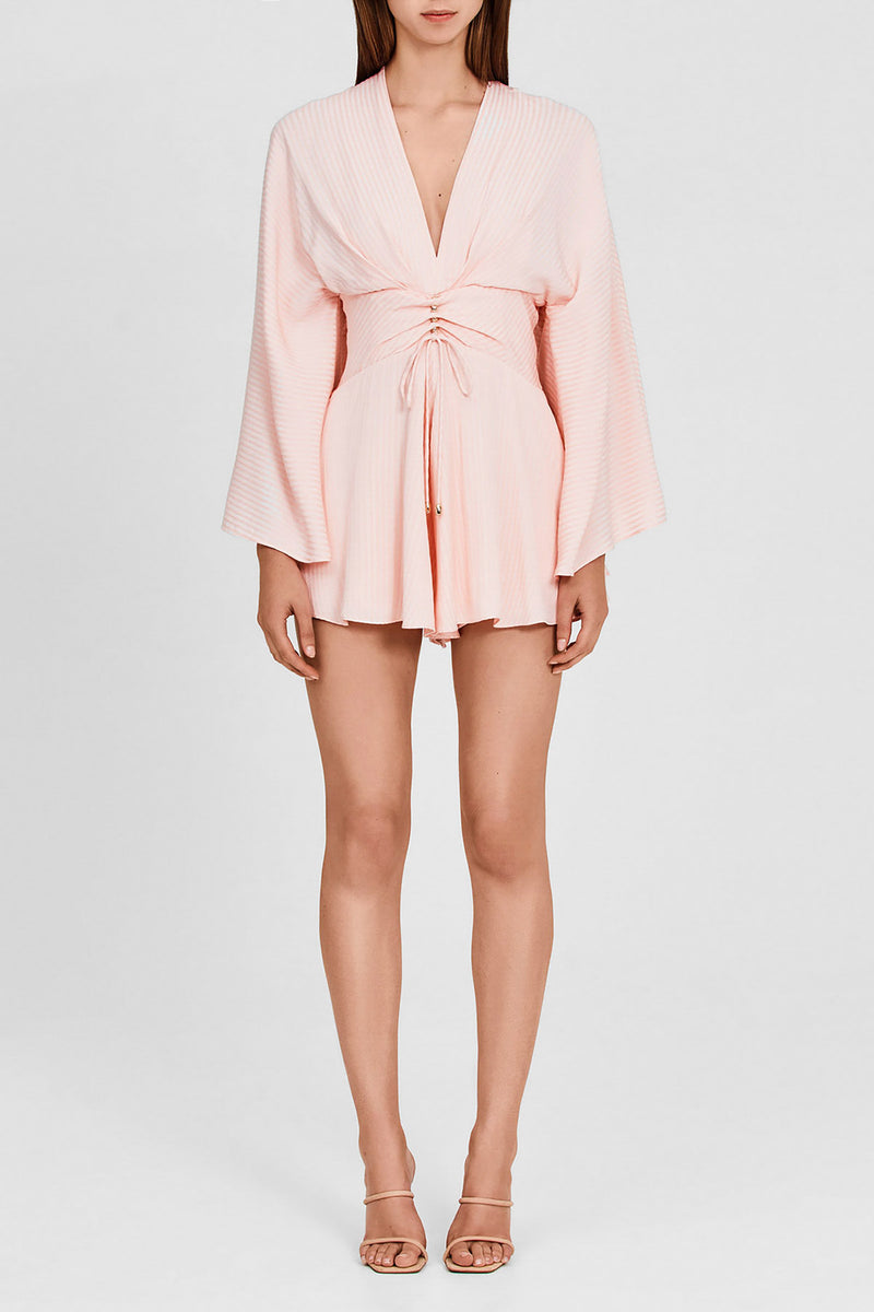 Significant Other Pastel Pink, Long-Sleeved Romper with Low v-neckline