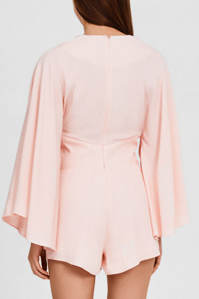 Significant Other Pastel Pink, Long-Sleeved Romper with Low v-neckline - Back View