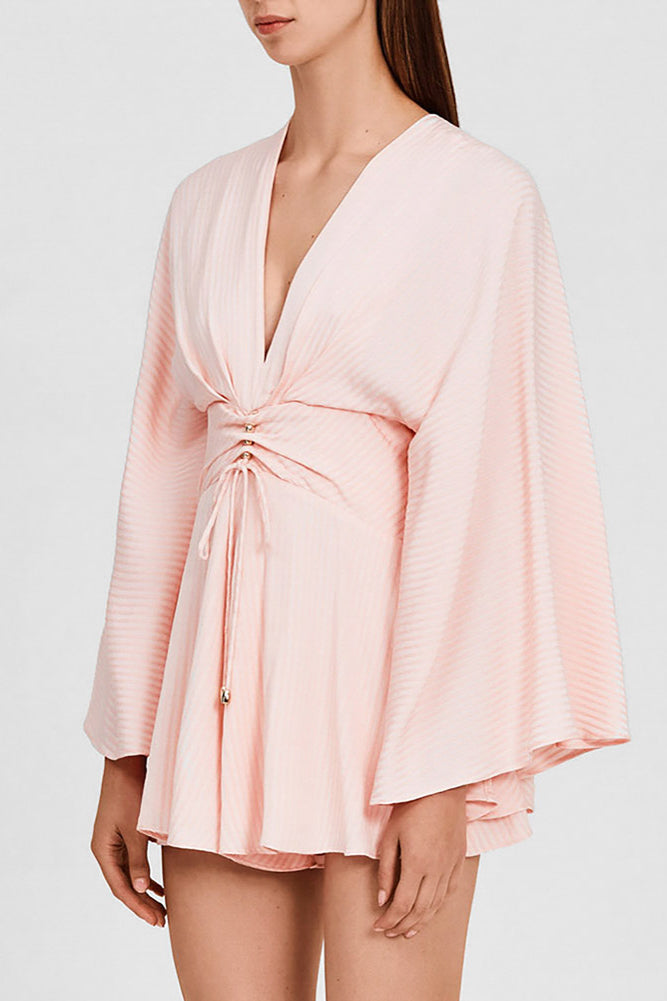Significant Other Pastel Pink, Long-Sleeved Romper with Low v-neckline - Side View