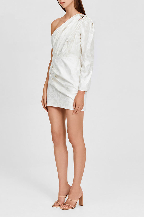Metallic Ivory Mini Dress with One-shoulder, cut-out Detail and Waist Gathering