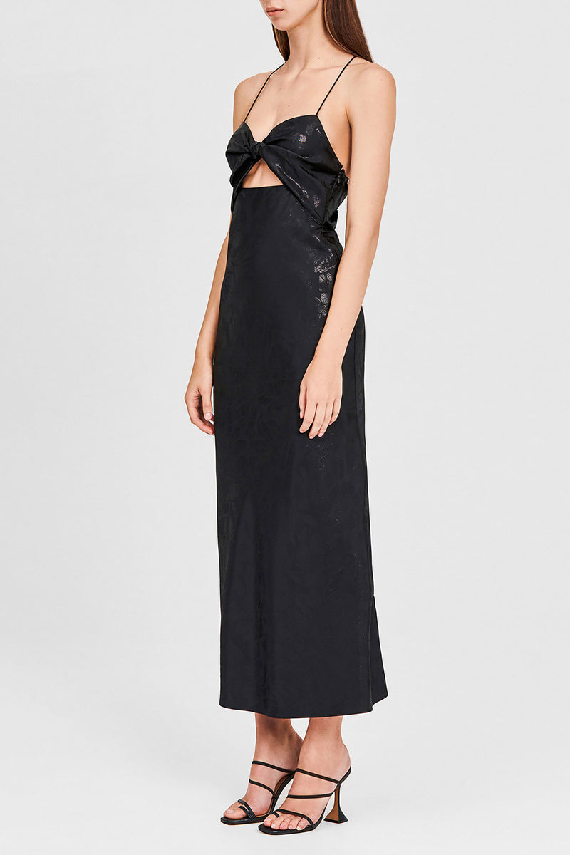 Metallic Black Full-length Dress with Sweetheart Neckline, Cut-out Below Bust, Low v-shaped Back and cross-over Spaghetti Straps