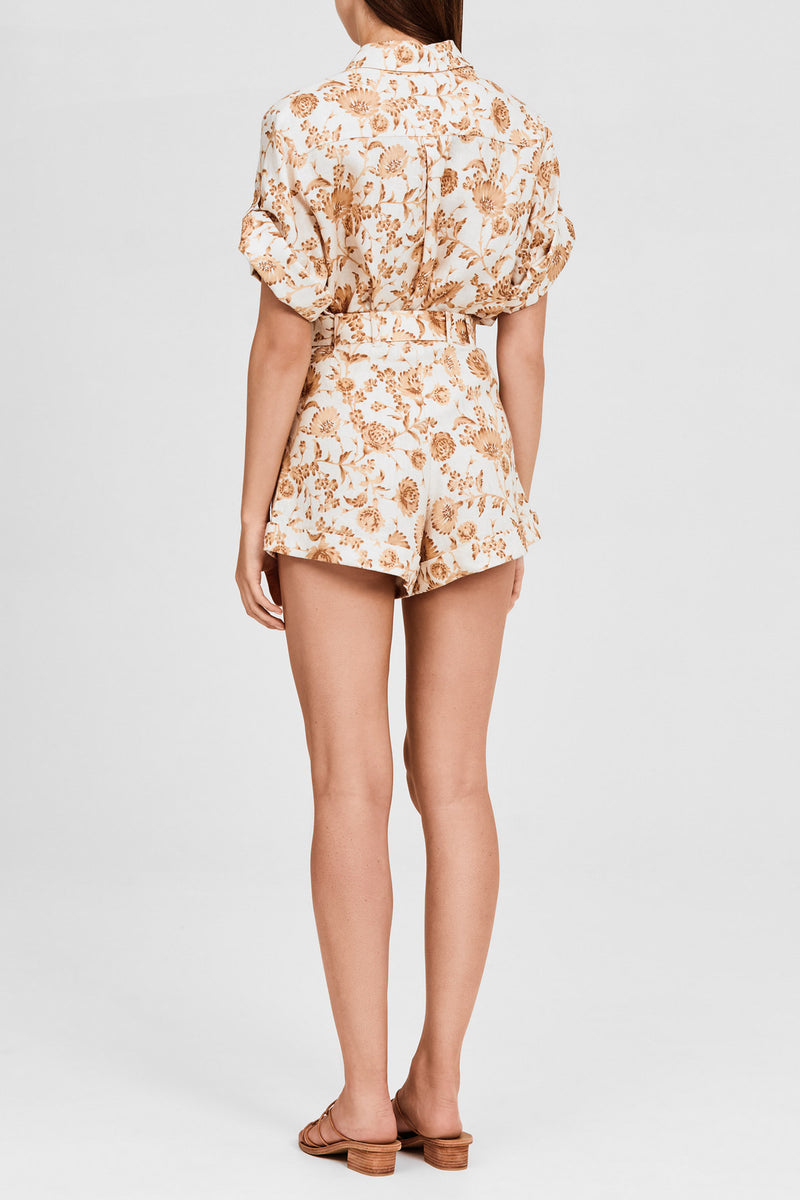 Significant Other Caramel Floral Tailored Short with Cuffed Hem, Dual Pockets and Waist Tie Detail