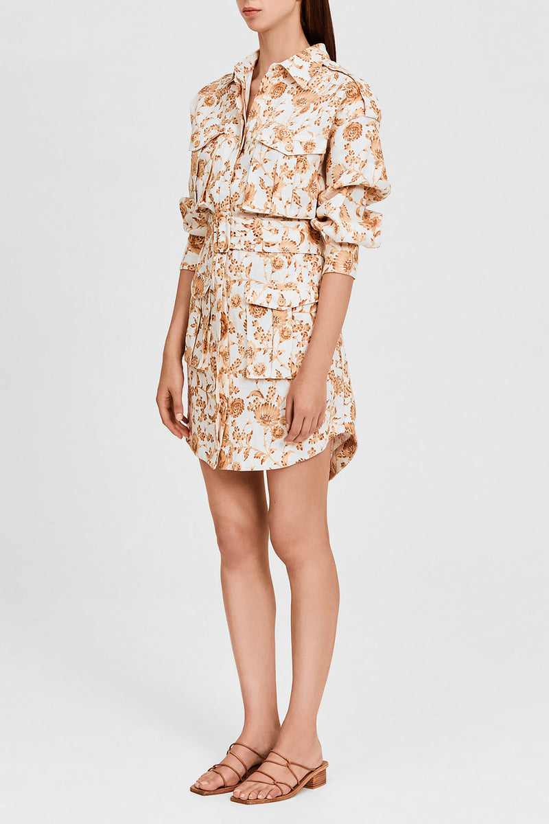 Caramel Floral Mini Shirt Dress with Collar, Four Oversized Pockets and Belted Waist Detail