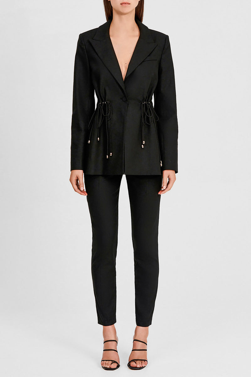 Significant Other Black Ladies Blazer with Notch Lapel Waist