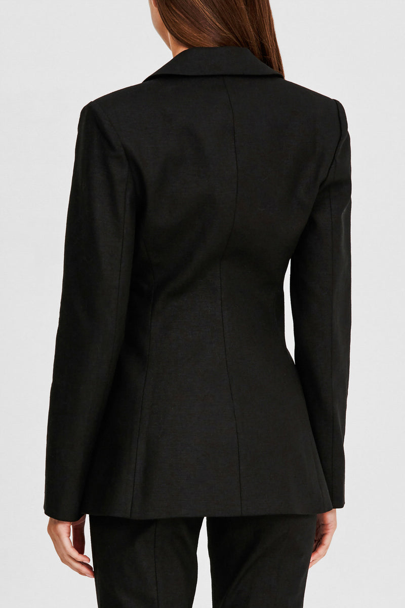 Significant Other Black Ladies Blazer with Notch Lapel Waist - Back View