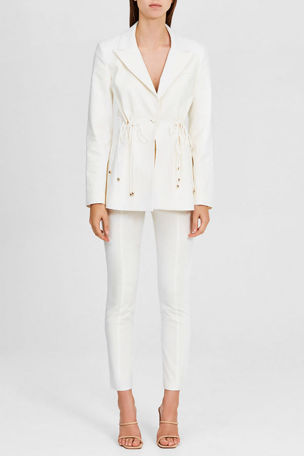 Significant Other Ladies Linen Tailored Ivory Blazer with Notch Lapel
