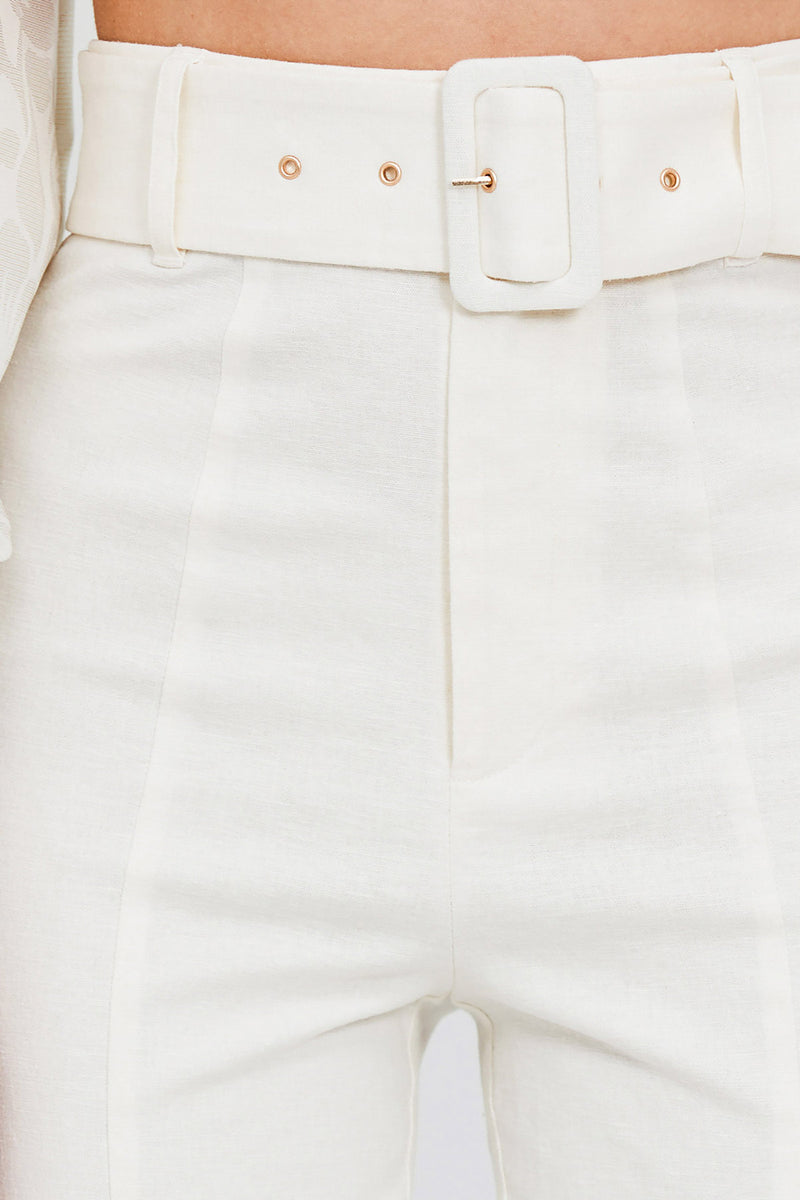 Significant Other Ivory, Slim Leg, High Rise Ladies Pants - Buckle Detail