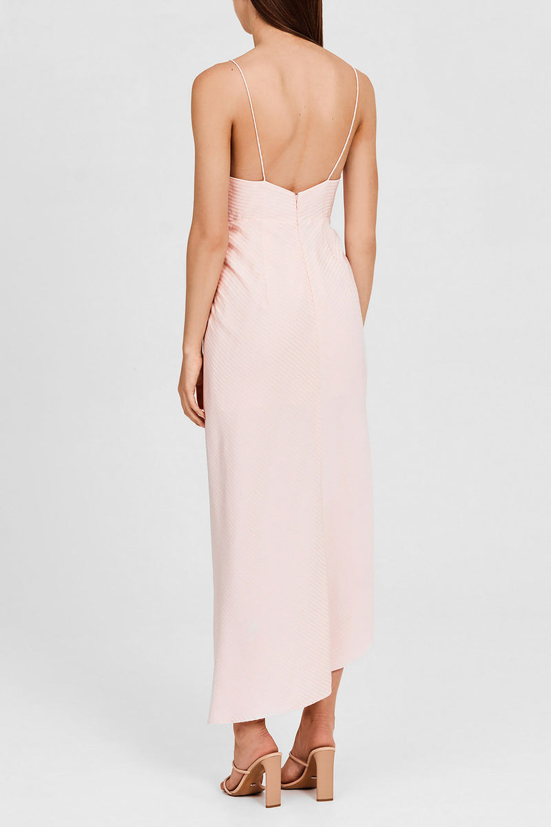 Significant Other Pastel Pink Midi Dress with Plunging v-neckline and Asymmetric Hemline - Back Detail