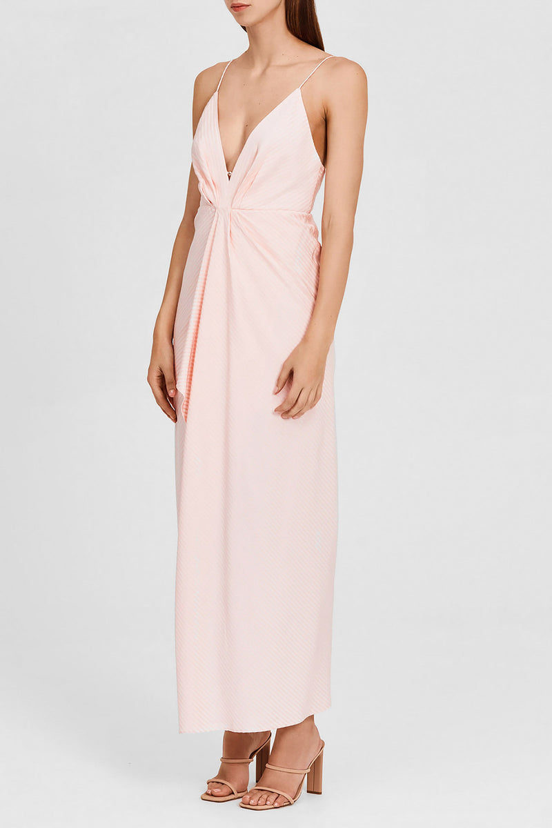 Significant Other Pastel Pink Midi Dress with Plunging v-neckline and Asymmetric Hemline