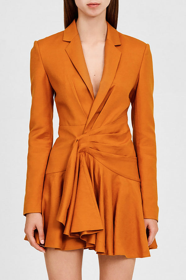 Significant Other Caramel Mini Blazer Dress with Long Sleeves, Low v-neckline and Frill Hemline