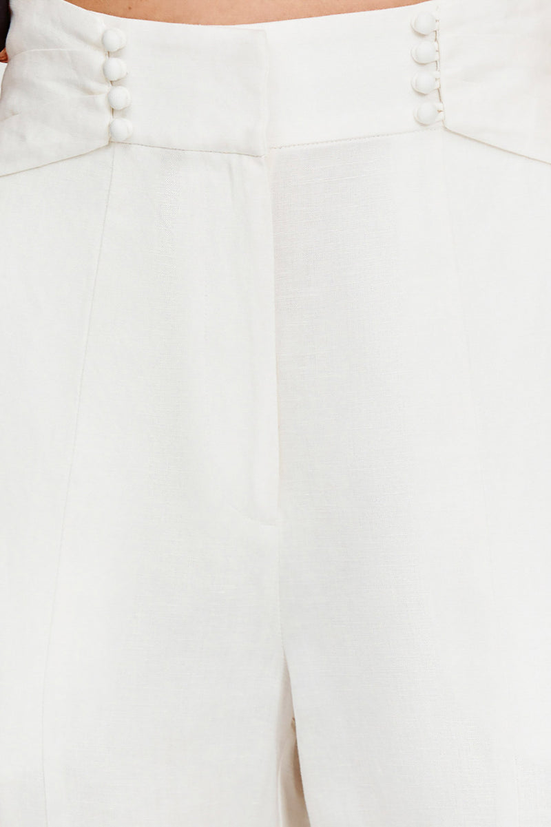 Significant Other Ladies Linen Wide Leg Ivory Pants - Waist Button Detail