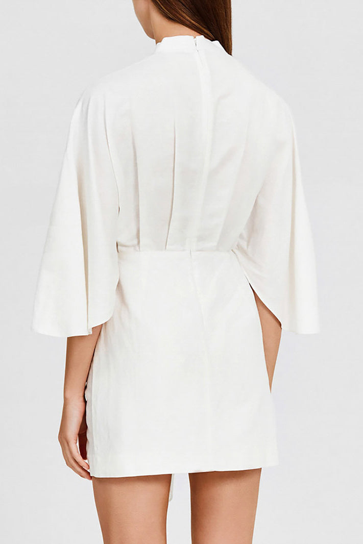 Significant Other Ivory Mini Dress with Wrap-Effect Detail at Front - Back Detail