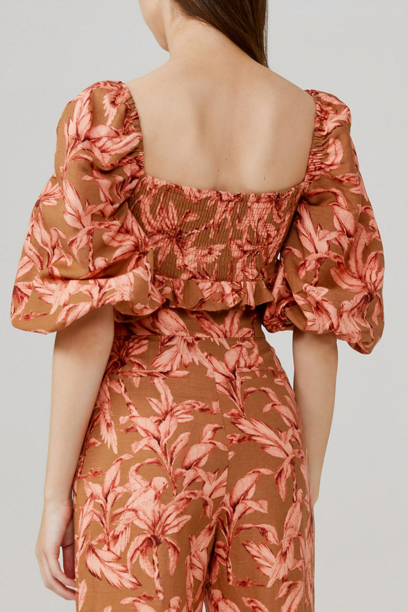Significant Other Cropped, Off the Shoulder Bodice with Brown and Pink Palm Pattern - Back Rouched Detail