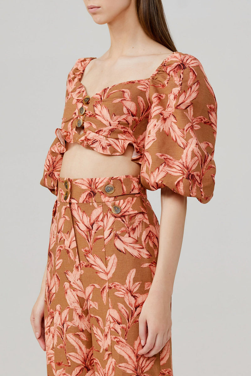 Significant Other Cropped, Off the Shoulder Bodice with Brown and Pink Palm Pattern