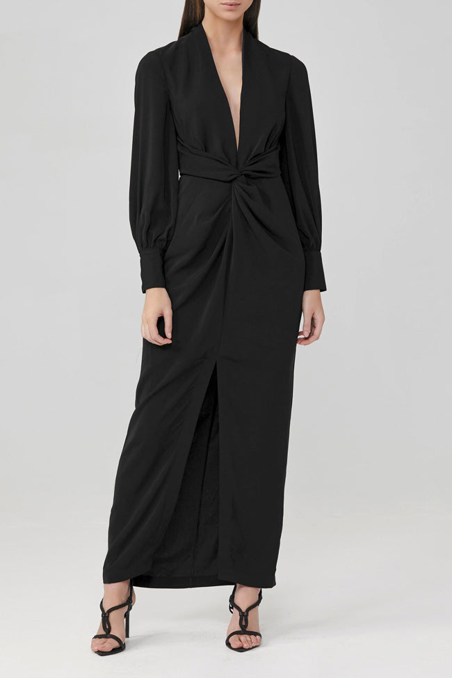 Significant Other Long-Sleeve Claribell Black Full Length Dress with Low V-Neckline and Open Back