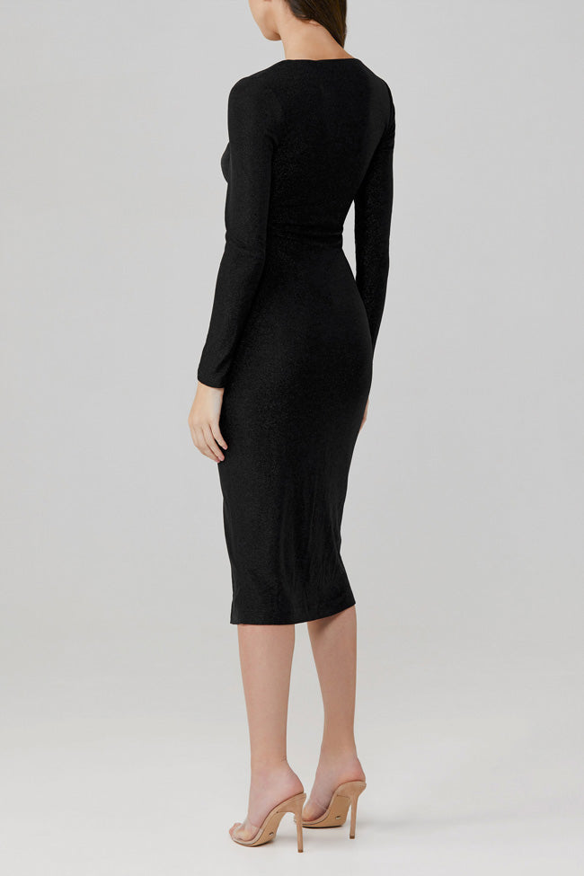 Significant Other Black Stretch Metallic Sanctuary Midi Dress with Long Sleeves, Low V-Neckline and Twist Detail