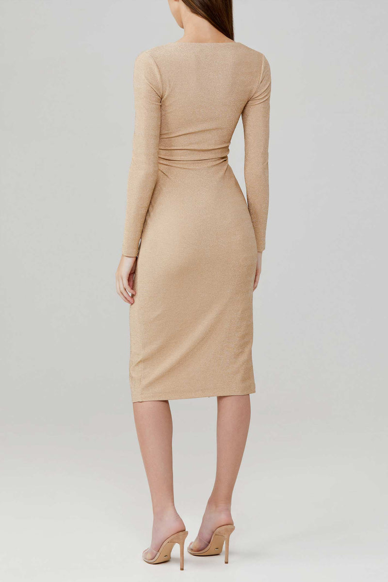 Significant Other Gold Stretch Metallic Sanctuary Midi Dress with Long Sleeves, Low V-Neckline and Twist Detail