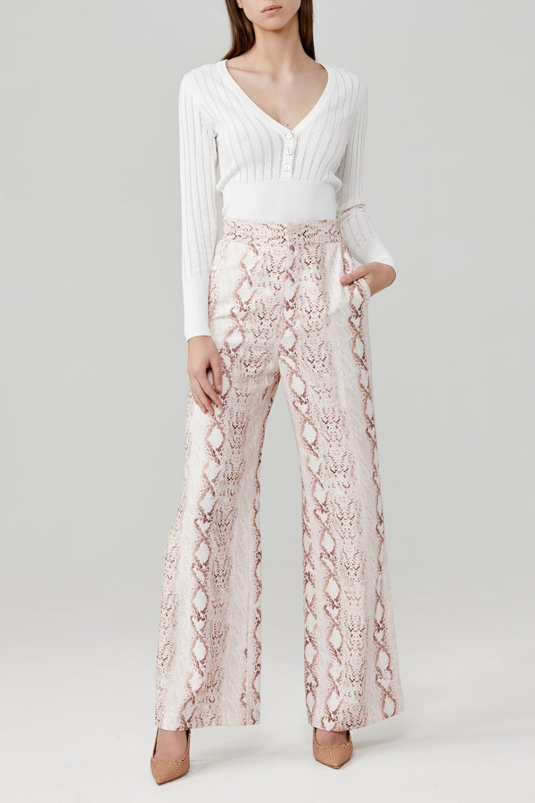 Significant Other Straight Leg Ladies Pant in Soft Pink Snake Skin