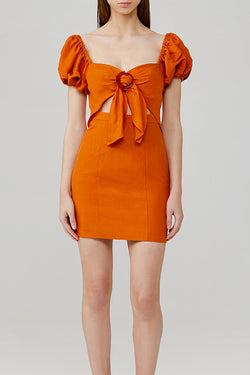 Significant Other Solace Mini Dress with Sweetheart Neckline, Puff Sleeves and Cut Out Detail in Amber Orange
