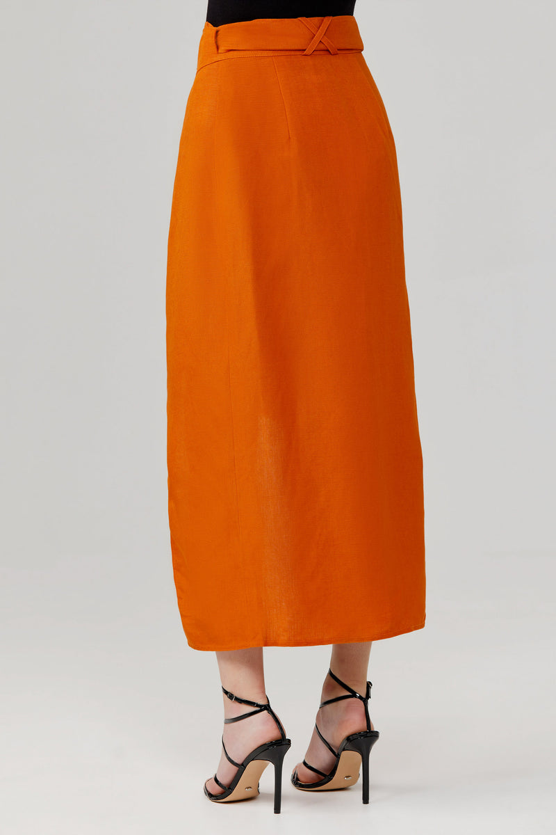 Significant Other Solace Linen Midi Skirt with Wrap Effect Front and Tie Detailing in Amber Orange