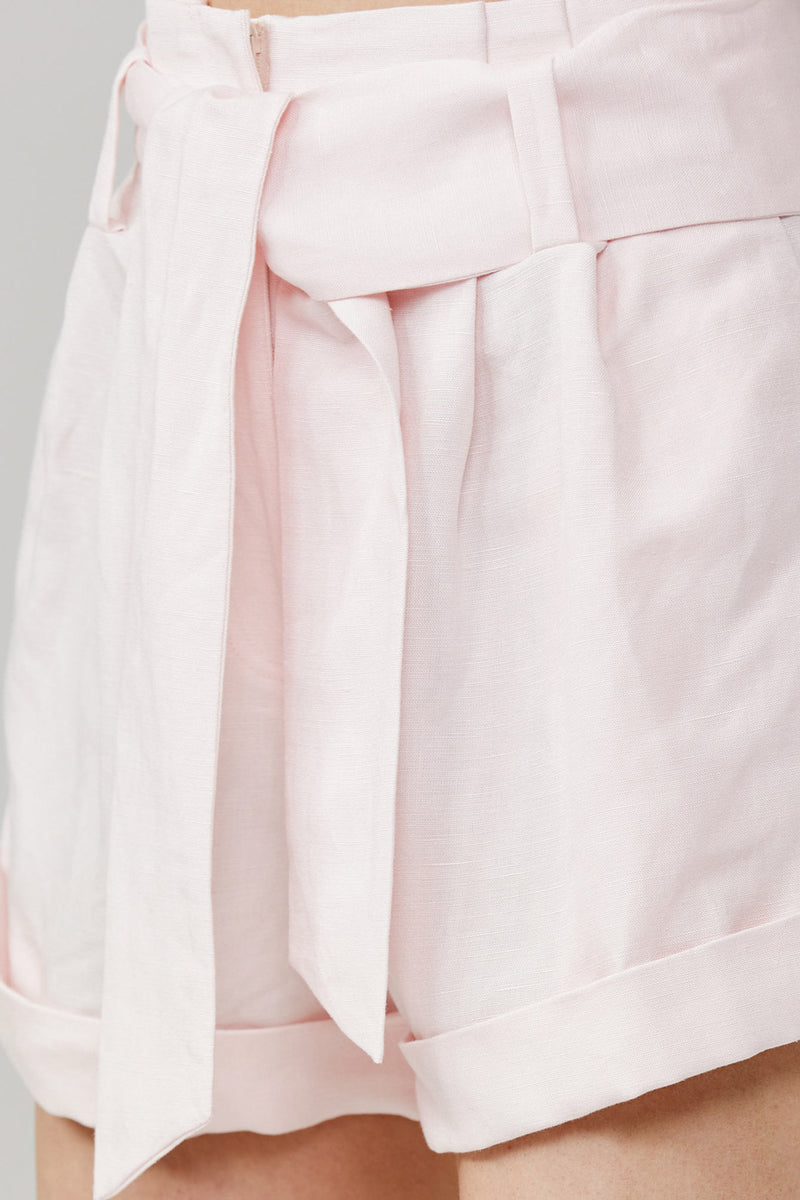 Significant Other Ladies Relaxed Fit Shorts with Cuffed Hem in Flamingo Soft Pink