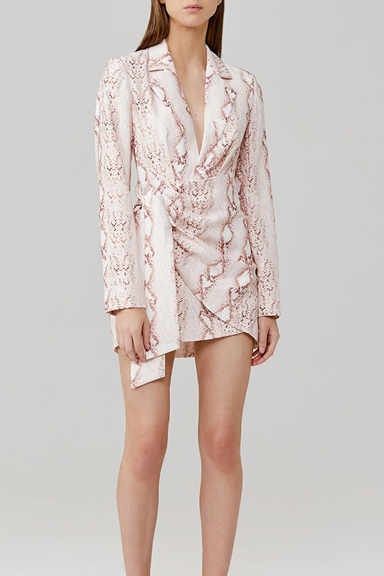 Significant Other Reflection Snake Skin Mini Blazer Dress with low V-Neckline