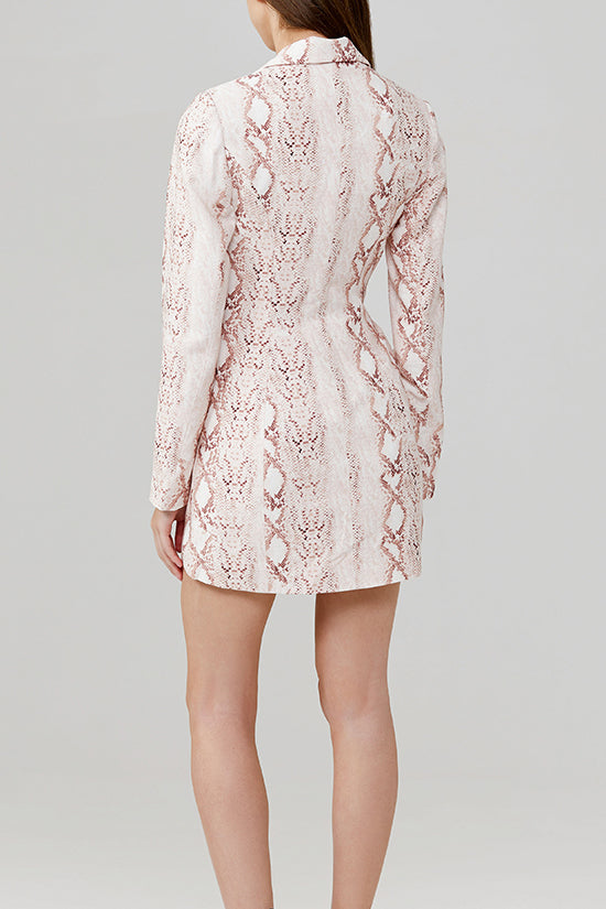 Significant Other Reflection Snake Skin Mini Blazer Dress with low V-Neckline Back Detail