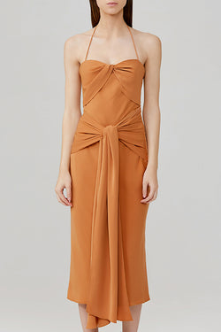 Significant Other Chestnut Brown Halter Neck Midi Dress with Twist Front