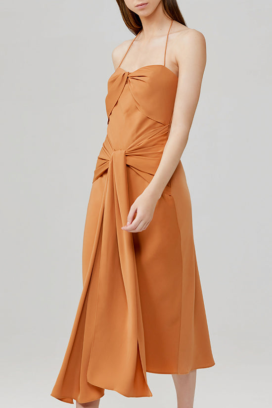 Significant Other Chestnut Brown Halter Neck Midi Dress with Twist Front - Side View