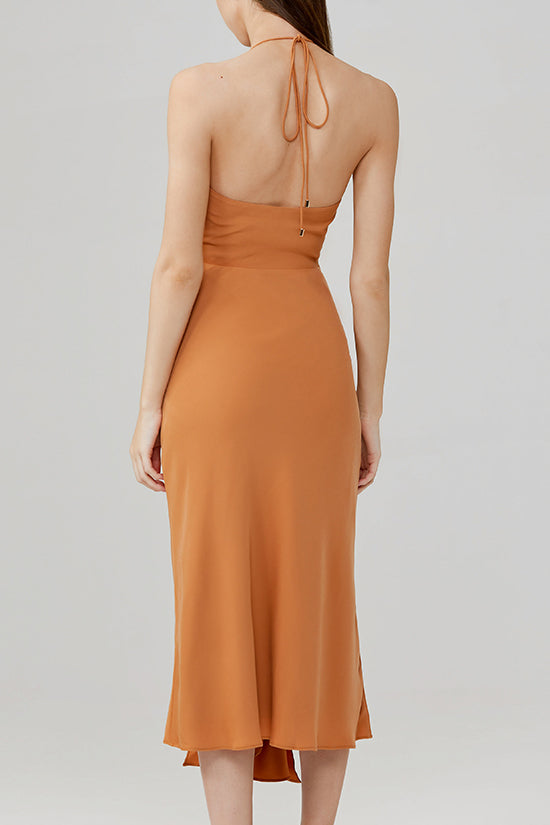 Significant Other Chestnut Brown Halter Neck Midi Dress with Twist Front - Back View