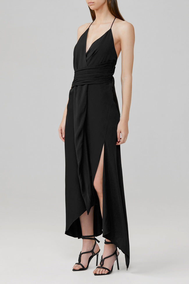 Significant Other Low-Back Elusive Black Midi Dress with Plunging Neckline