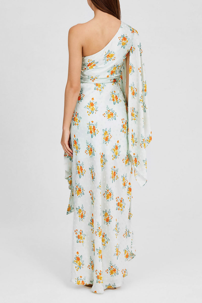 Mint Green Floral Full-length Dress with One-shoulder, Exaggerated Sleeves and Waist Tie