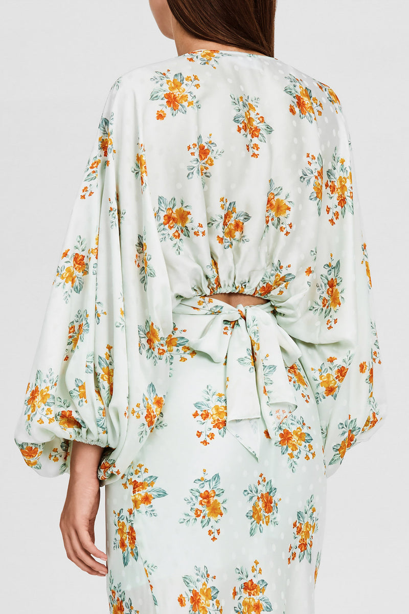 Mint Green Floral Cropped Top - Fitted at the Waist with Tie Detail, V-neckline and Batwing Sleeves