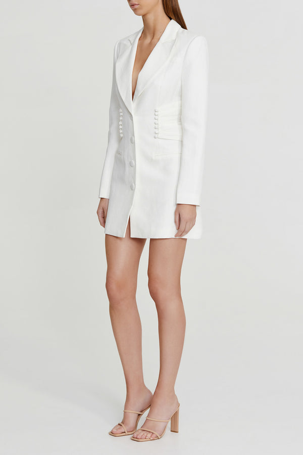 Significant Other Ivory Button-up Blazer Dress with Tailored Full Length Sleeves, Button Gather Detailing and Plunging v-neckline
