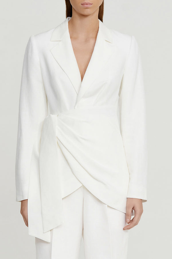Significant Other Ivory Wrap Style Blazer with Tailored Full Length Sleeves and V-neckline