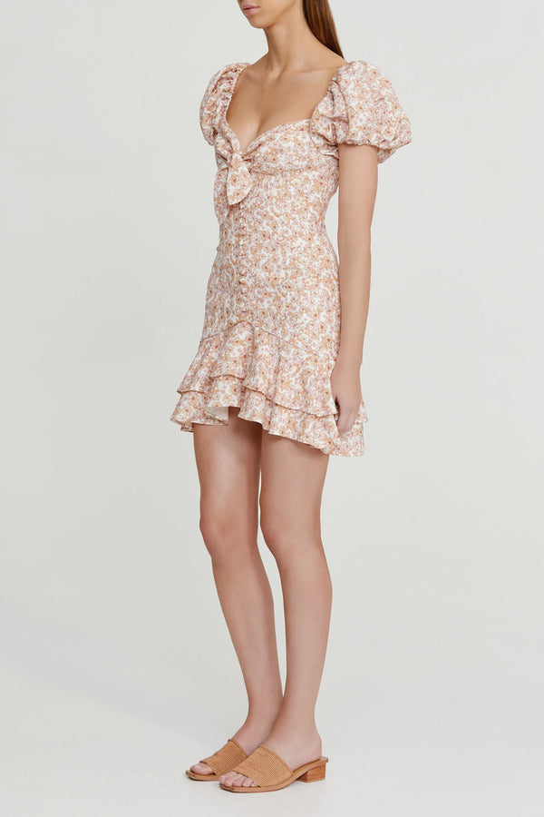 Significant Other Pink Floral Mini Dress with Tie Detail at Bust, Adjustable Sleeves (on or off the shoulder), Sweetheart Neckline, Elasticated Shirring and Cap Balloon Sleeves
