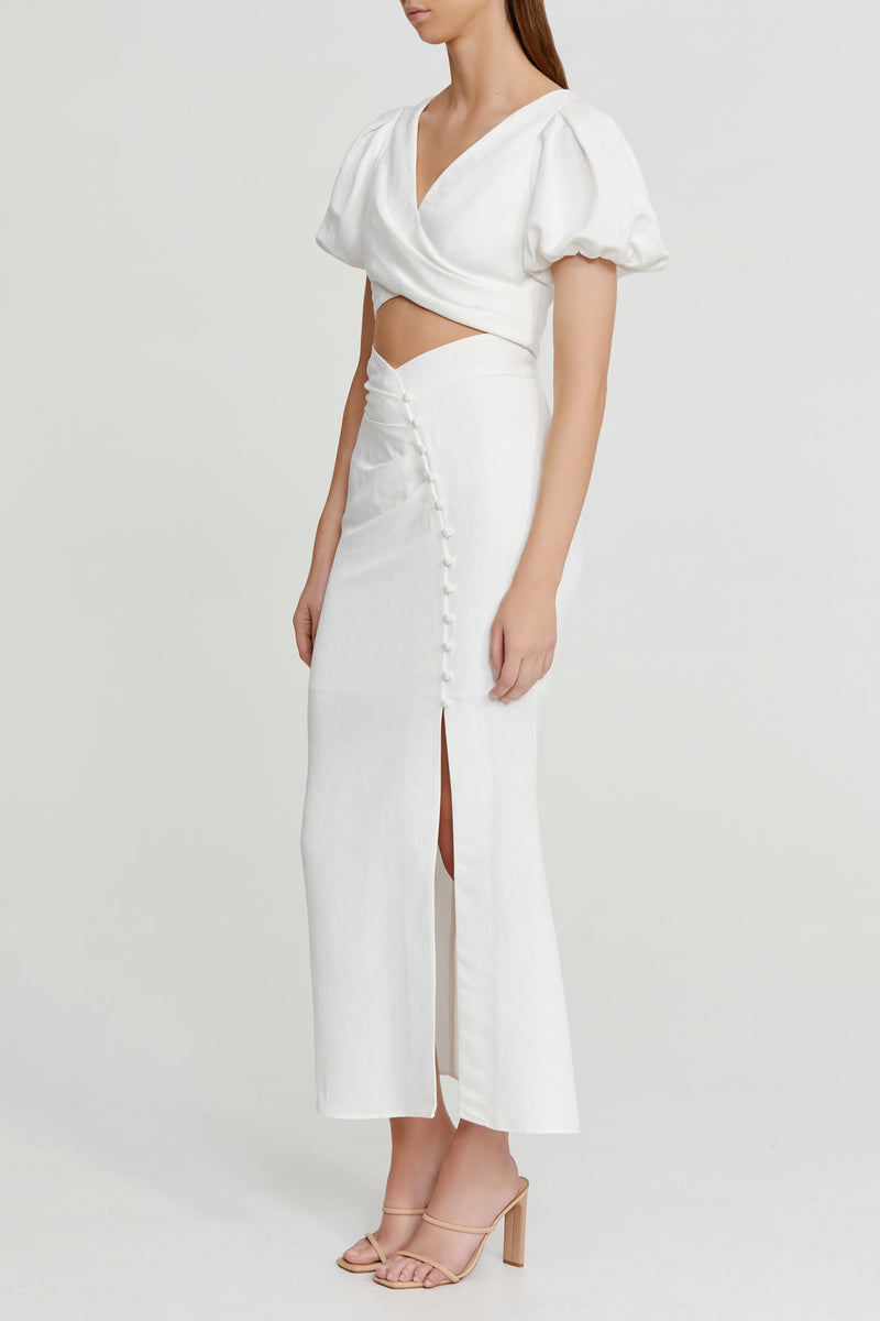 Significant Other Ivory Cropped Top with Wrap Look, V-neckline and Short Puffy Sleeves with Elastic Cuff