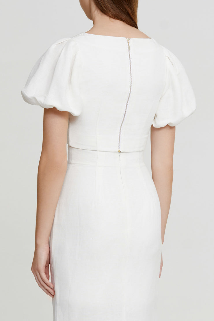 Significant Other Ivory Cropped Top with Wrap Look, V-neckline and Short Puffy Sleeves with Elastic Cuff - Back View