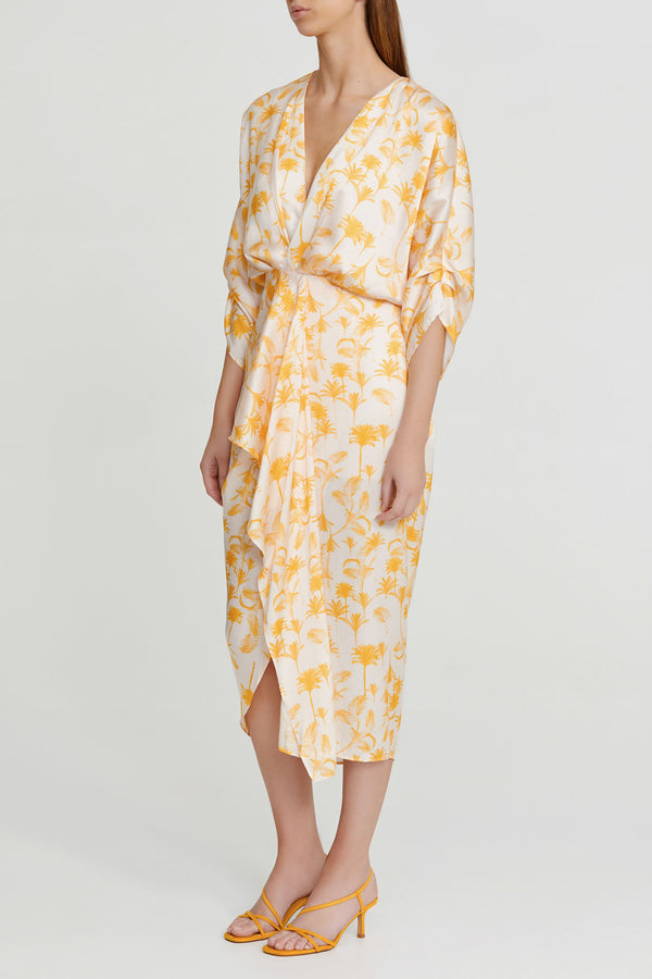 Significant Other Yellow Palm Patterned Midi Dress with Drape Detail from Waist, V-neckline and Relaxed Sleeves to Elbow