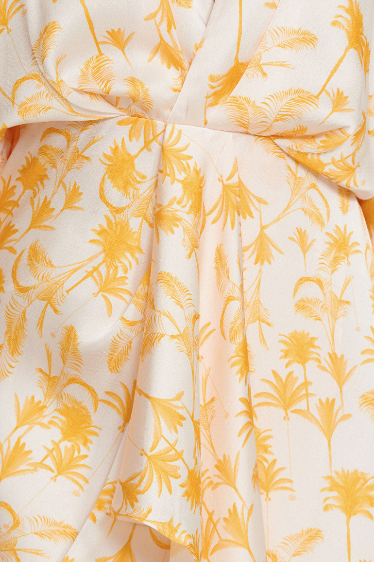 Significant Other Yellow Palm Patterned Midi Dress - Drape Detail from Waist