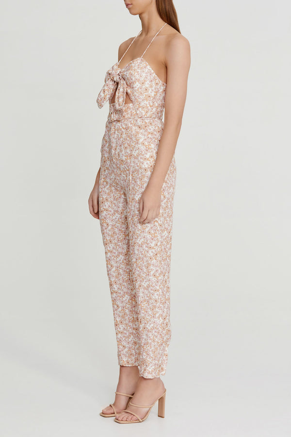 Significant Other Ladies Jumpsuit in Pink Floral with Spaghetti Straps, Halter Tie-up, Elasticated Back, Tie Neckline Detail, Belt and Fly Front Zip and Closure