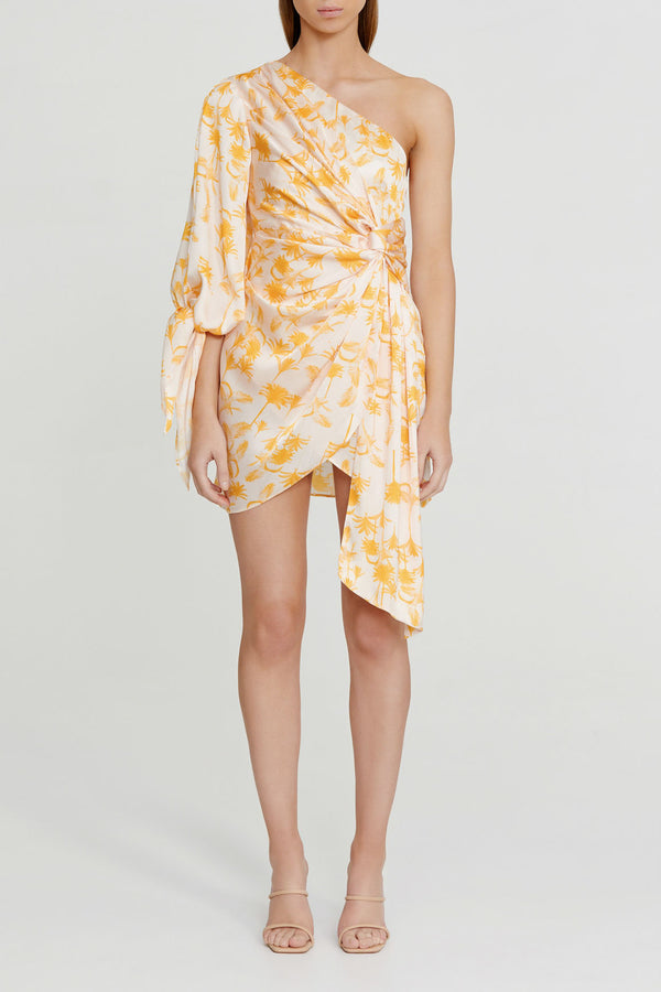 Significant Other Yellow Palm Patterned Mini Dress with One Shoulder, Balloon Sleeve and Gathered Tie Detail Waist