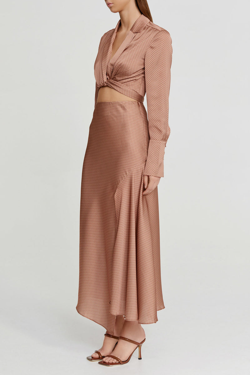 Significant Other Chocolate Brown Midi Skirt with Side Split and Asymmetric Hem