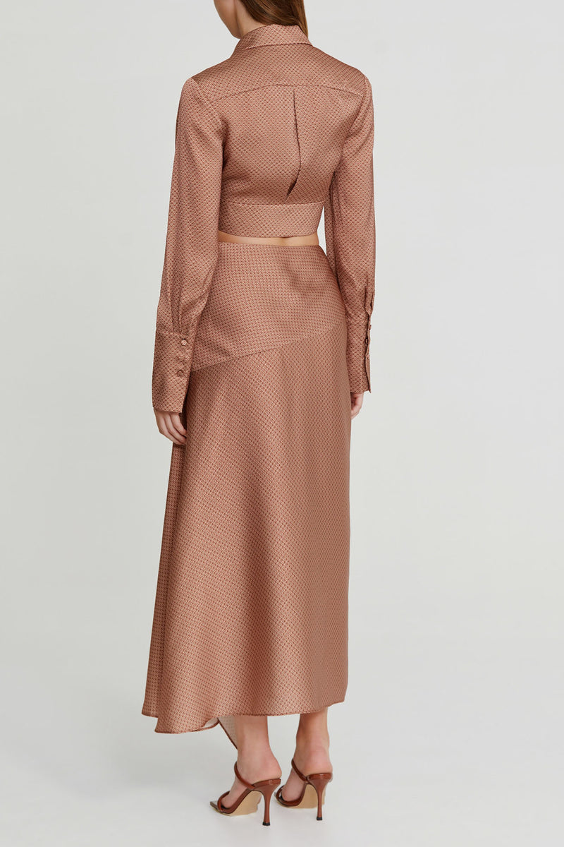 Significant Other Chocolate Brown Midi Skirt with Side Split and Asymmetric Hem - back view