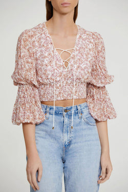Significant Other Cropped Top in Pink Mixed Floral Fabric with V-neckline and Lace Tie Detail, Elasticated Waist and Full Length Balloon Sleeves